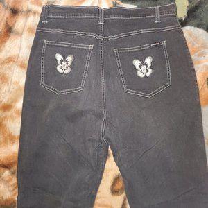 Zana Di gray black flower embroidered Jeans 17 18